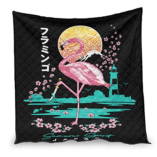 Ballbollbll Japanese Flamingo Samurai spirit Anti Allergy Premium Soft and Warm Comfort Bedding Quilt Duvet All Season for Single and Double Bed white 200x230cm