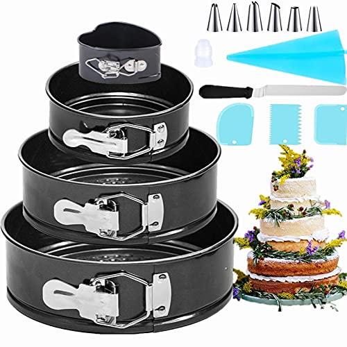 Nifogo Tortiera Apribile - Antiaderente e a Prova di Perdite Cheesecake Pan Set, Forma Molla Tortiera Set con Decorazione Torte Set, 2 Spatola per Glassa e 3 Torta Scrappers (4PCS)