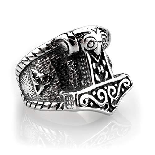 Edelstahl Ring Thor's Hammer mit Triquetra - Silber