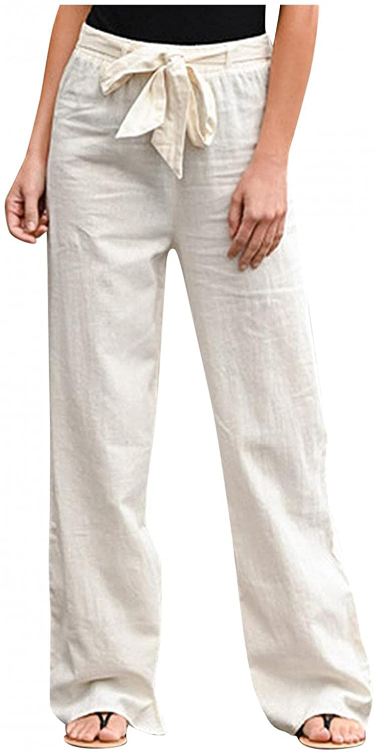 Women's Plus Size Casual Pants Cotton Linen Summer Fall Band Elastic Waist Wide Leg Pants Trousers with Pockets