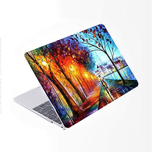 SDH Funda para MacBook Pro de 15 pulgadas 2019 2018 2017 A1990 A1707,carcasa rígida de patrón de plástico y piel de teclado degradado compatible con Mac Pro 15 Touch Bar & ID,Landscape Painting 8