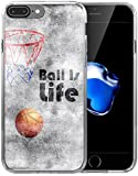 8 Plus Case/7 Plus Case/IWONE Designer Non Slip Rubber Durable Protective Skin Transparent Cover Compatible with iPhone 7/8 Plus + Creative Painting Basketball Writings Sports