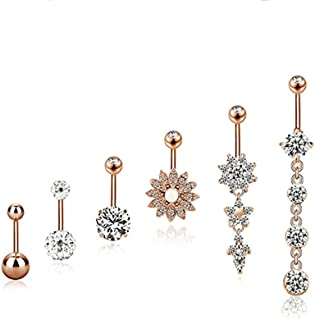KeyZone 6 Pieces 14G Stainless Steel Belly Button Rings Navel Curved Barbell Body Piercing Jewelry