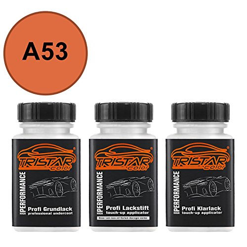 TRISTARcolor Autolack Lackstift Set für Datsun/Infiniti/Nissan A53 Orange Perl/Solar Orange Perl Grundlack Basislack Klarlack je 50ml