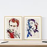 Nacnic James Dean und Marilyn Monroe Aquarell Poster 2-er