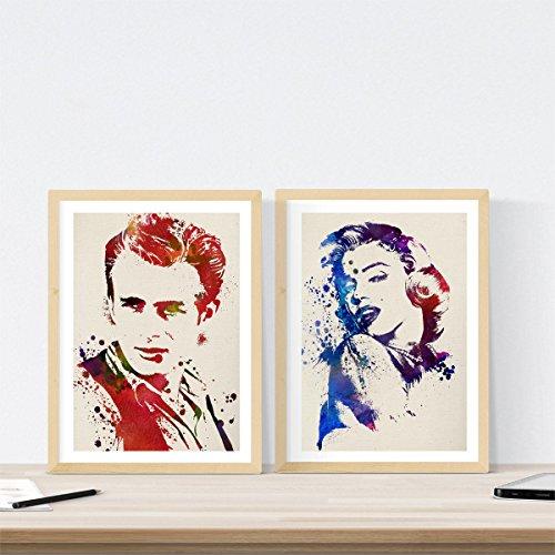 Nacnic Set de 2 láminas para enmarcar James Dean y Marilyn Monroe Estilo Acuarela. Posters con imágenes de clásicos del Cine en tamaño a3