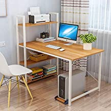 Home Office Computer Desk with Storage Shelves and Bookshelf 120cm Computer Desk Workstation Large Compact Studying able w...