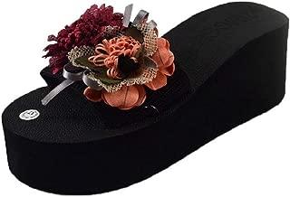 THE LONDON STORE Women's Multi-Color Summer Flower High-Heel Flip Flops Beading Beach Wedges Sandals