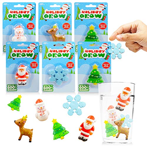 Christmas Grow in Water Toys for Kids Boys Girls - 6 Pc Christmas Growing Kit Capsules for 2020 (Holiday Activity Set)