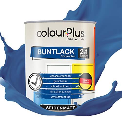 colourPlus® 2 w 1 kolorowy lakier (750 ml, RAL 5010 błękitny) jedwabiście matowy lakier akrylowy - lakier do zabawek dla dzieci - farba do drewna - farba do drewna wewnątrz - Made in Germany