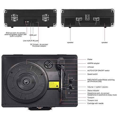 Plattenspieler , AETKFO Bluetooth Plattenspieler 3-Gang Vinyl Plattenspieler mit Lautsprecher, Unterstützung Aufnahme Vinyl, Cinch & USB Ausgang / AUX-In / Kopfhöreranschluss, Koffer Design (schwarz) - 9