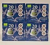 Cafe Descafeinado - Ditare Deskaf - Capsulas Compostables. Tueste Natural de Agricultura Ecologica. Proceso Natural al Agua. Pack de 4x20/ unidades = 80 Capsulas Compatibles con Cafeteras Nespresso*.