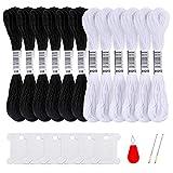Pllieay 12 madejas de hilo de punto de cruz, hilo de algodón blanco y negro, pulseras de la amistad, hilo de hilo con 6 bobinas de hilo de seda, 2 agujas de bordado y 1 enhebrador de agujas.