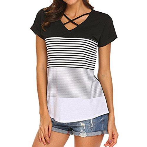 MRULIC Frauen Damen Streifen Splice T-Shirt Kurzarm Casual Tops Bluse Sommer Trikot(Schwarz,EU-38/CN-M)