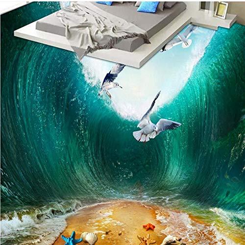 Personalizado Gran Mural Pvc Impermeable Onda De Choque Mar Pájaro Playa Baño Baño Dormitorio 3D Piso Pegatina De Suelo-200X140Cm Azulejos De Suelo 3D Murales Pegatinas Cuarto De Baño Vinilo Autoadh