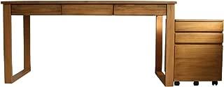 パソコンデスク 書斎机 学習机 ダイニングテーブル パイン材 140cm幅 2点セット RP002+RP003 ブラウン
