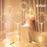 Led Lights Up BoBo Balloons 20 Inches, 10 Pack Whit Stick 70 cm, Led WHITE Color, Decoration , Party Halloween Christmas, Birthday, Wedding, Bubble Balloons