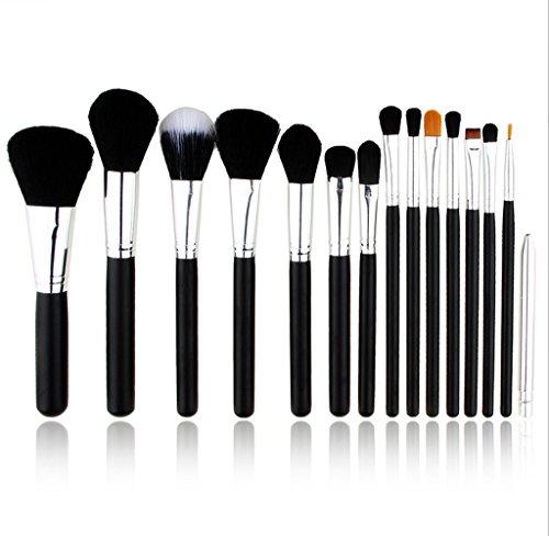 Cexin noire+ argent professionel 15 pinceaux de maquillage équis