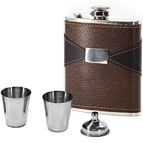 BASTKBOY Set de Regalo de petaca Frasco de Vino de 7 oz Incluido Embudo 2 Vasos de chupito Botella de Acero Inoxidable Personalizada con Tapa a Prueba de Fugas