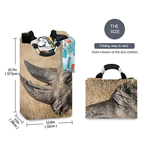 FANTAZIO Afrikaanse neushoorn grote wasmand opvouwbare stof waszak, opvouwbare kleding tas