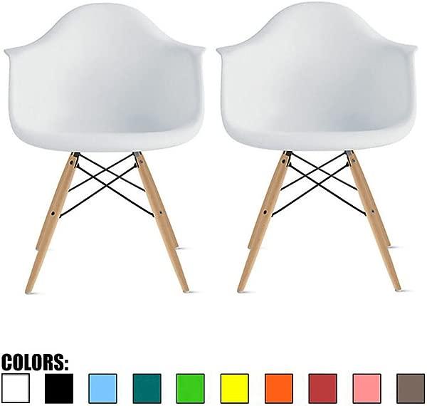 2 套白色当代世纪中期现代塑料风格扶手椅,带靠背埃菲尔天然木质木腿餐椅模制塑料扶手椅厨房餐厅客厅底座