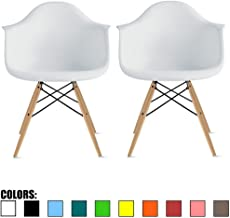 2xhome - Set of Two 2 White Contemporary Mid Century Modern Plastic Style Armchair with Back Eiffel Natural Wood Wooden Legs Dining Chair Molded Plastic Arms Chair Base for Kitchen Dining Living Room