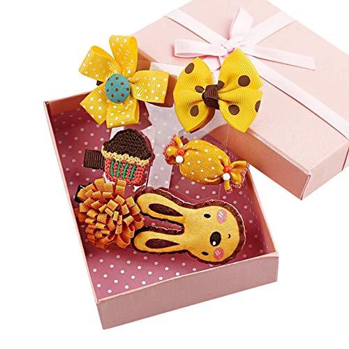 Haaraccessoires voor Baby Kleine Meisjes Dier Haar Clips Strikken Haarspeldjes Kroon Haarspelden Set with gift box Geel