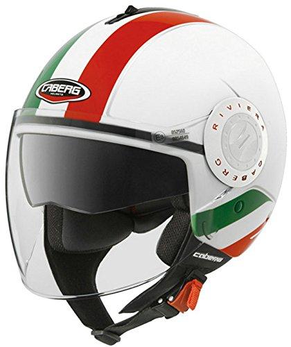 Caberg Riviera V2+ Jethelm Motorradhelm mit Doppelte Sonnenblende Scooter Helm Italien Grün XS(53-54cm)