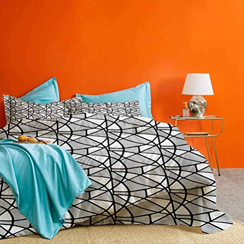 Black and White 3 Pieces Duvet Cover Set Geometrical Pattern with Abstract Design Thick and Thin Lines Tile Best Material/Highly Durable Black and White | 1 Duvet Cover + 2 Pillow Shams Cal King Size