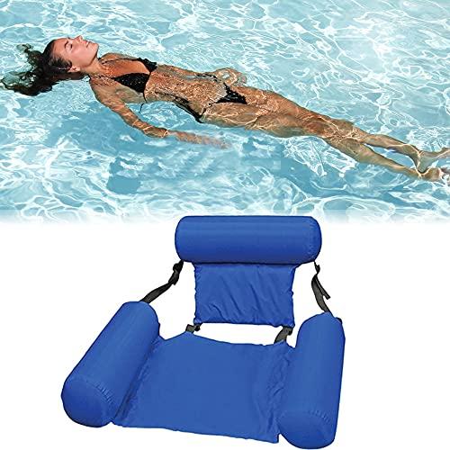 DEEPOW Hamaca hinchable para piscina, silla de agua, hamaca 4 en 1, colchón de aire ultracómodo, colchón de aire flotante, colchón flotante para piscina, color azul