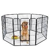 Polar Aurora 24/32/40 inch Tall Dog Playpen with Door, 8 Panel Indoor & Outdoor Folding Metal Portable Puppy Exercise Pet Playpen (40')