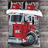 3 Piezas Juego Funda De Diseño Personalizado,Brigada de bomberos Vehículo Ayuda de emergencia para bomberos públicos Camión,Ropa de Cama Set 1 Edredón 2 Fundas de Almohada Microfibra jueg(200*200cm)
