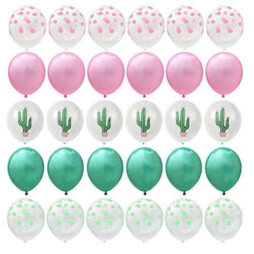 Jingyuu Ballon en Latex Motif de Cactus Ballon à Paillettes Décoration de Mariage Anniversaire Fête 30PCS