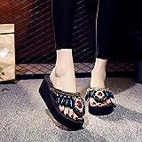 Zapatillas De Casa para Mujer Primavera,El Verano Femenino USA La Moda del Tesoro Negro 2021 Nuevo Medio TacóN Alto Grueso Manwind-UE 36 (23cm / 9.05')_b