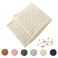 "HIGH QUALITY MATERIAL: TREELY's knit throw blanket is made of 100% cotton. It is incredibly soft. Ideal for tender and sensitive skin. It is no static. Pure cotton does not pilling. PERFECT 50"" x 60"" SIZE: The comfortable 50 x 60 Inch cotton cable kn..."