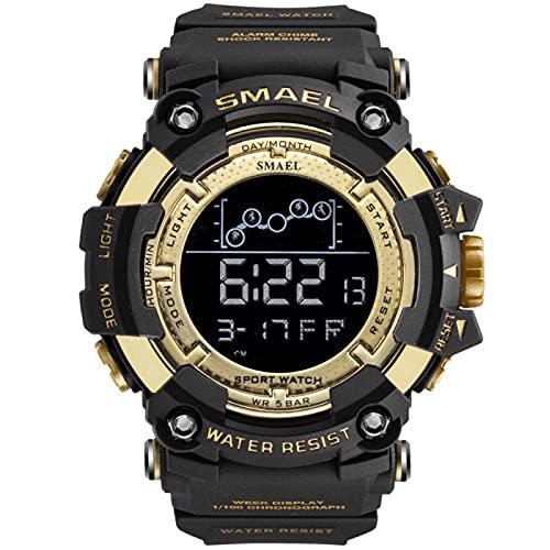 JTTM Reloj Deportivo para Hombre Reloj Militar Alarma Digital Luminosa Impermeable Hombre Analógico Correa de plastico Reloj para Hombre,Oro