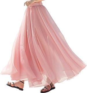 تنورة طويلة من الشيفون للنساء من Teemall على شكل حرف A تنانير كلاسيكية مطوية على الشاطئ تنورة ماكسي (وردي)