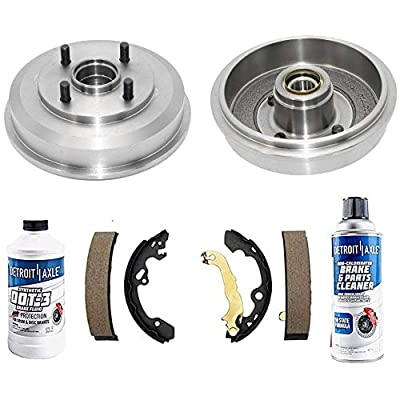 Detroit Axle - Rear Brake Drums w/Ceramic Brake Shoes for 2000 2001 2002 2003 2004 2005 2006 2007 2008 Ford Focus with Wheel Bearing