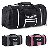 Elite Sports New Item Ventilated Mesh Duffel Gym Bag, Black/White