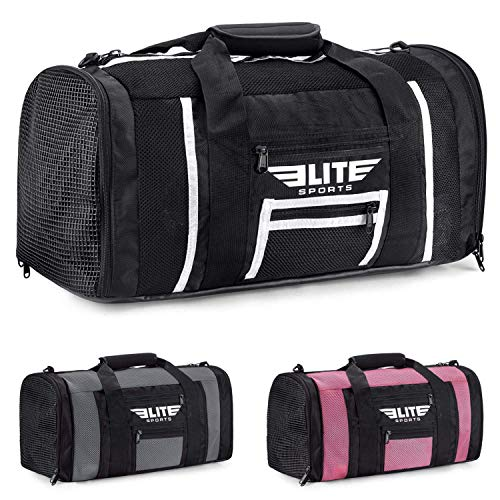 Elite Sports Boxing Gym Duffle Bag for MMA, BJJ, Jiu Jitsu Gear, Duffel Athletic Gym Boxing Bag (Black/White, Small)