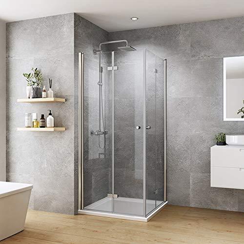 welmax Duschkabine 90x90x185cm Falttür Rahmenlos Eckeinstieg Duschabtrennung Doppelt Duschtür Duschtrennwand aus 6mm ESG Sicherheitsglas