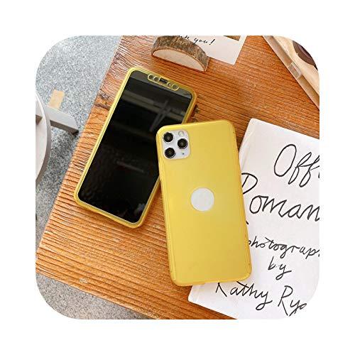Funda de 360 grados para iPhone 11 Pro Max 7 8 Plus XR X XS Cubierta completa de PC mate duro de protección para iPhone 11 XS MAX 6 6S 5 SE amarillo para iPhone X