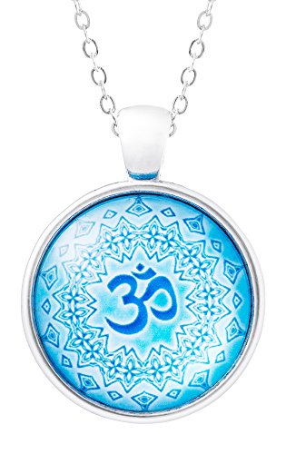 Klimisy - OM Mandala Kette mit Anhänger aus Glas - Buy one & Plant one Tree - Hochwertige Halskette mit Yoga-Medaillon - Eco & Fair