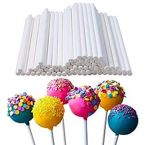 400 Pcs White 10cm/4in Lollipop Sticks,Cake Pop Sticks,Sucker Sticks for Cookies,Rainbow Candy,Chocolate,Cake Topper from