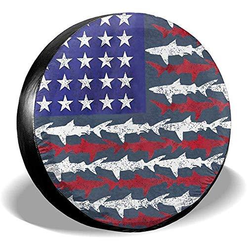 Niet bruikbare Tire Cover Shark American Flag Sunscreen wielafdekking bandendiameter voor verschillende aanhangers RV voertuigen SUV 17in/80~83cm 4 X 100 M