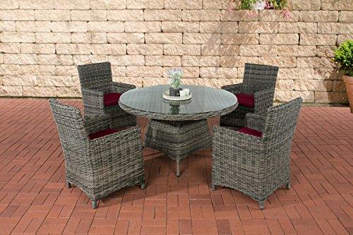 CLP Polyrattan Sitzgruppe PINELLA mit Polsterauflagen | Garten-Set: EIN Esstisch und Vier Gartenstühle erhältlich, Farbe:grau-meliert, Polsterfarbe:Rubinrot