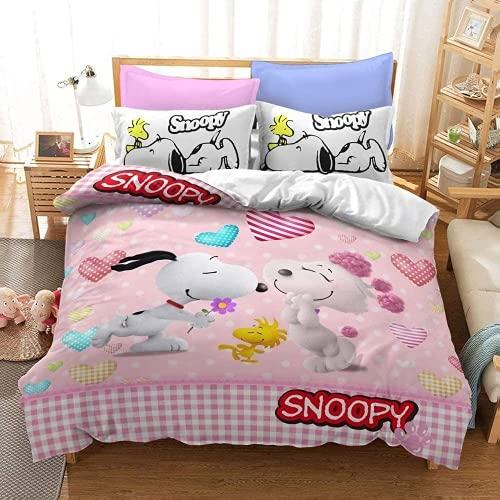 Aatensou Snoopy Fashion Fun - Juego de ropa de cama con impresión digital 3D, microfibra, para 4...