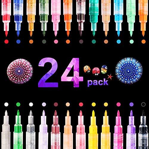 24 color de rotuladores acrílica 0.7mm Marcadores de Permanenterotuladores pintura acrilica para pintar piedras, cristal, cartulinas, madera, papel kraft, dedicatorias en álbumes de fotos