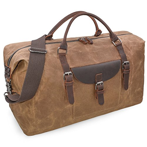 Oversized Travel Duffel Bag Waterproof Canvas Genuine Leather Weekend bag Weekender Overnight Carryon Hand Bag Brown