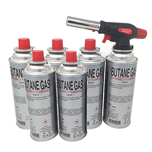 Starlet24® Lötbrenner (+ 6x Gaskartuschen) Gasbrenner Bunsenbrenner Camping Gasanzünder Lötlampe mit Piezozündung, einstellbare Flammengröße für Gaskartuschen mit MSF-1a Anschluss